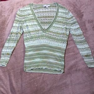 Green striped sweater